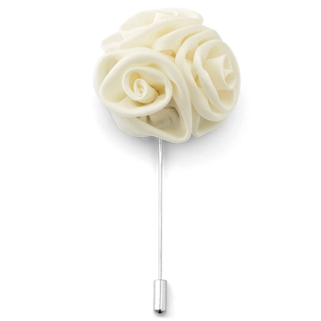 Cream lapel pin